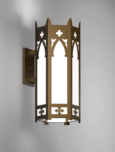 Cambridge Series Wall Bracket Church Lighting Fixture in Medium Bronze Finish