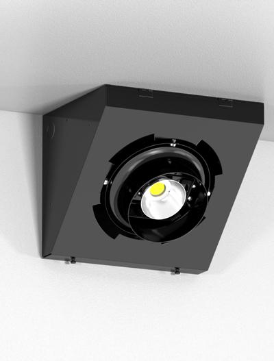 Corner Gimbal Series Directional Church Lighting Fixture in Semi Gloss Black Finish
