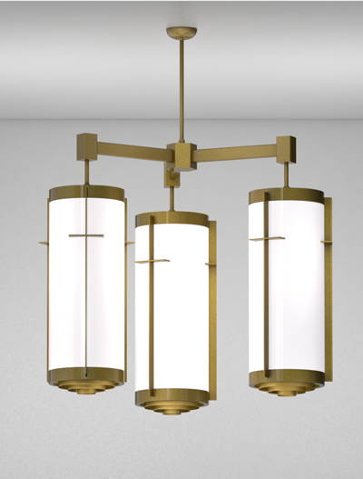 Cleveland Series 3-Arm Cluster Pendant Church Lighting Fixture in California Gold Finish