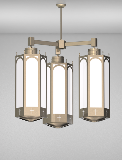 Charleston Series 3-Arm Cluster Pendant Church Lighting Fixture in Satin Nickel Finish