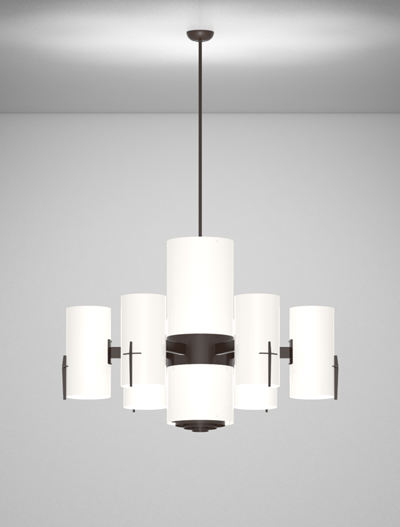 Corvallis Series 6-Arm Satellite Pendant Church Lighting Fixture in Duranodic 313 Finish