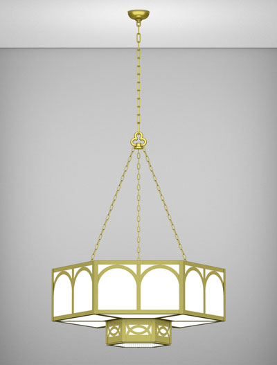Dover Series 2-Tier Large Pendant Church Lighting Fixture in Satin Brass Finish
