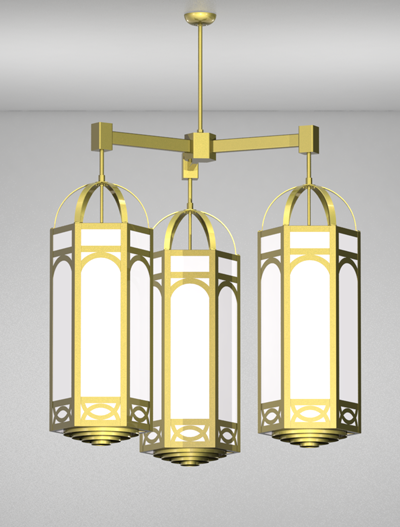 Dover Series 3-Arm Cluster Pendant Church Lighting Fixture in Satin Brass Finish