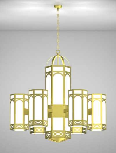 Dover Series 6-Arm Satellite Pendant Church Lighting Fixture in Satin Brass Finish