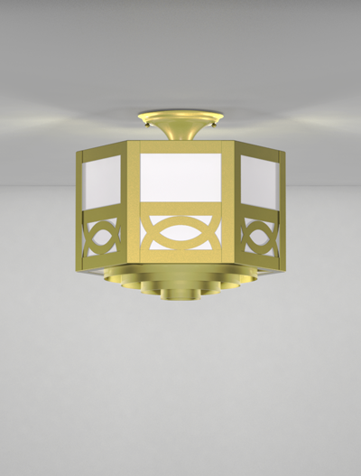 Dover Series Ceiling Mount Church Lighting Fixture in Satin Brass Finish