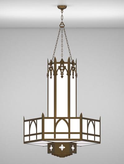 Easton Series 3-Tier Large Pendant Church Lighting Fixture in Medium Bronze Finish