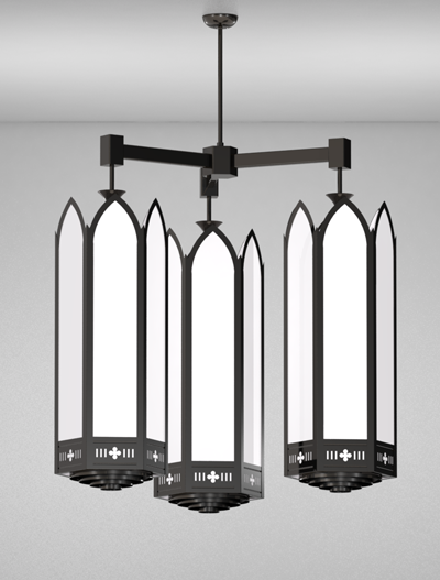 Gainesville Series 3-Arm Cluster Pendant Church Lighting Fixture in Semi Gloss Black Finish