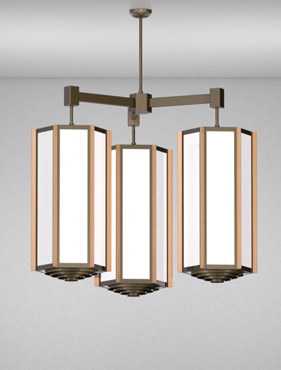 Hampton Series 3-Arm Cluster Pendant Church Lighting Fixture in Duranodic 313 Finish