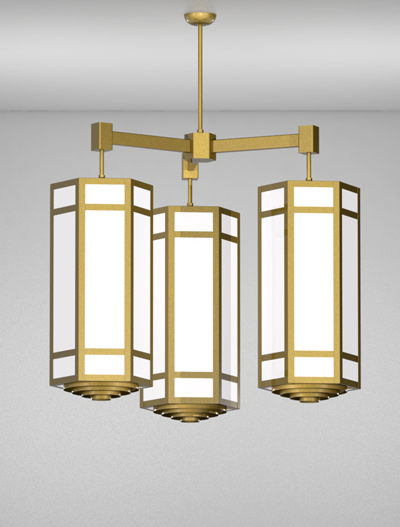 Hebron Series 3-Arm Cluster Pendant Church Lighting Fixture in California Gold Finish