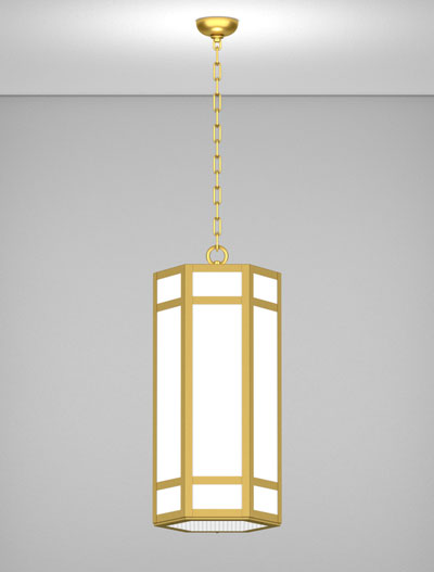 Hebron Series Pendant Church Lighting Fixture In California Gold Finish
