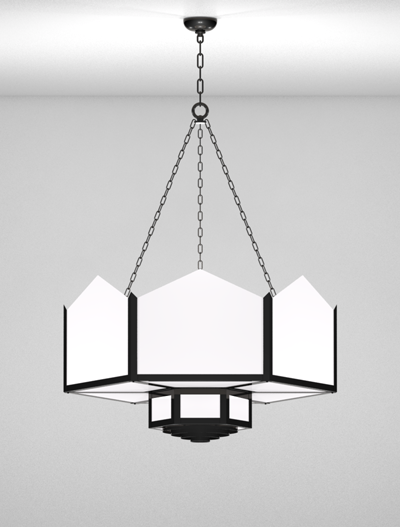 Hancock Series 2-Tier Large Pendant Church Lighting Fixture in Semi Gloss Black Finish
