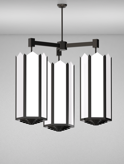 Hancock Series 3-Arm Cluster Pendant Church Lighting Fixture in Semi Gloss Black Finish
