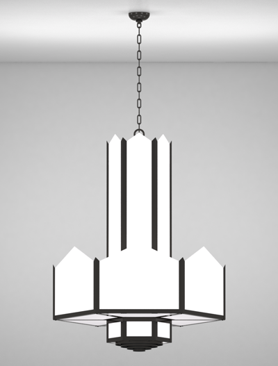 Hancock Series 3-Tier Large Pendant Church Lighting Fixture in Semi Gloss Black Finish