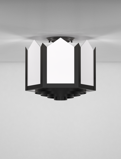 Hancock Series Ceiling Mount Church Lighting Fixture in Semi Gloss Black Finish