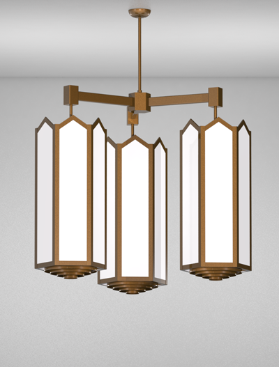 Hammond Series 3-Arm Cluster Pendant Church Lighting Fixture in Nu Bronze Finish