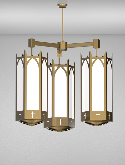 Hartford Series 3-Arm Cluster Pendant Church Lighting Fixture in Roman Gold Finish