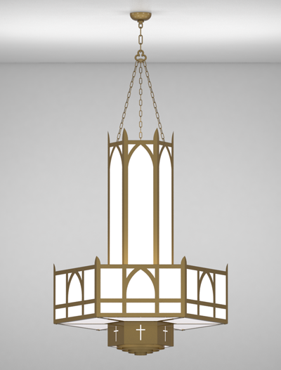Hartford Series 3-Tier Large Pendant Church Lighting Fixture in Roman Gold Finish