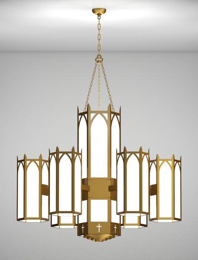 Hartford Series 6-Arm Satellite Pendant Church Lighting Fixture in Roman Gold Finish