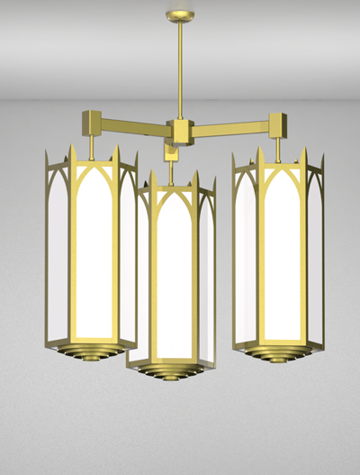 Hagerstown Series 3-Arm Cluster Pendant Church Lighting Fixture in Satin Brass Finish