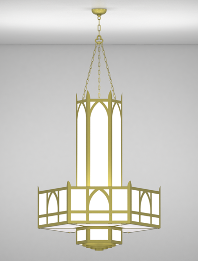 Hagerstown Series 3-Tier Large Pendant Church Lighting Fixture in Satin Brass Finish