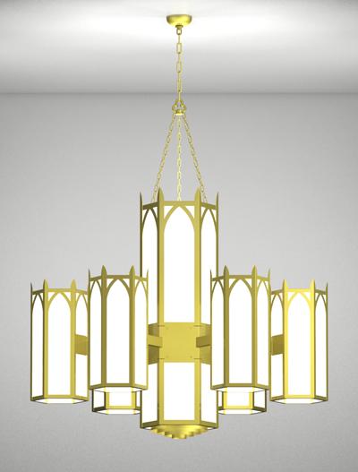 Hagerstown Series 6-Arm Satellite Pendant Church Lighting Fixture in Satin Brass Finish