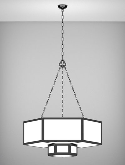 Houston Series 2-Tier Large Pendant Church Lighting Fixture in Semi Gloss Black Finish