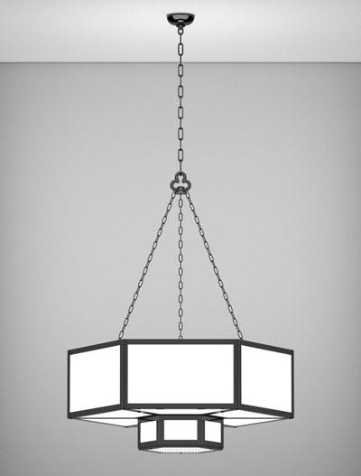Houston Series 2-Tier Large Pendant Church Lighting Fixture in Semi Gloss Black Finish