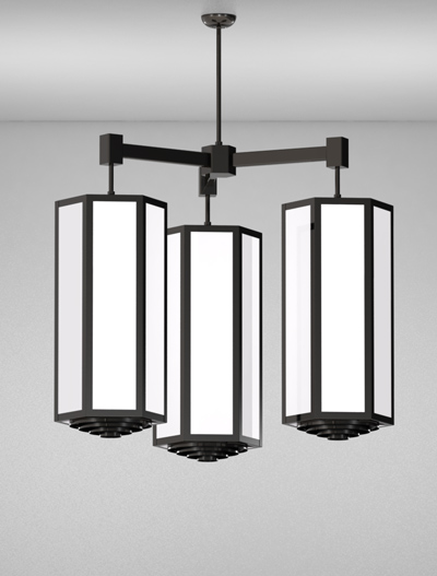 Houston Series 3-Arm Cluster Pendant Church Lighting Fixture in Semi Gloss Black Finish