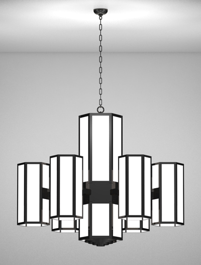 Houston Series 6-Arm Satellite Pendant Church Lighting Fixture in Semi Gloss Black Finish