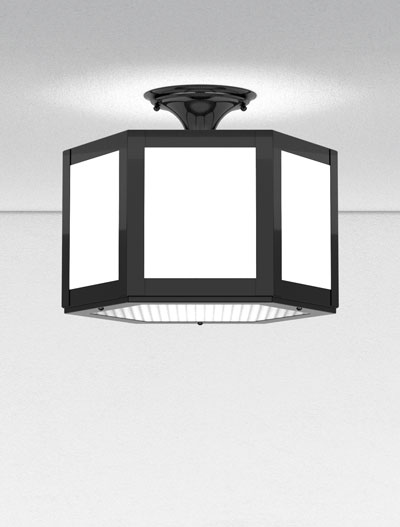 Houston Series Ceiling Mount Church Lighting Fixture in Semi Gloss Black Finish