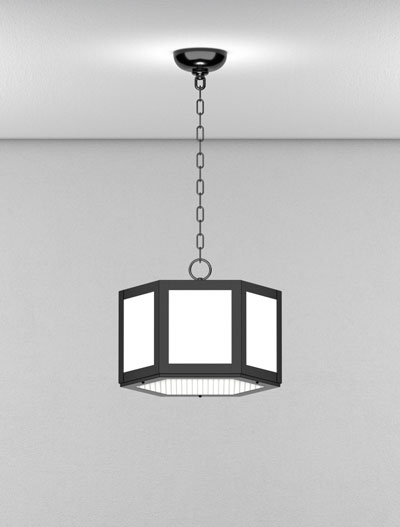 Houston Series Short Pendant Church Lighting Fixture in Semi Gloss Black Finish