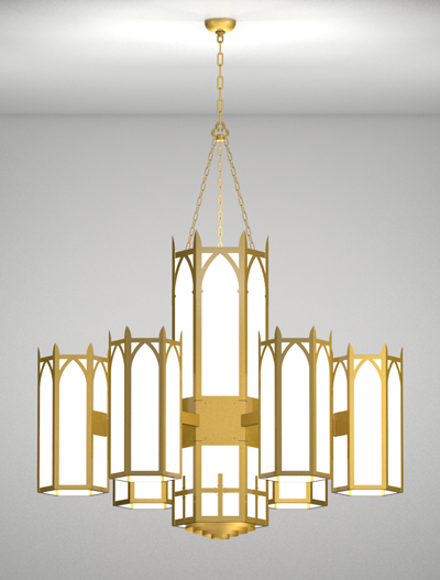 Ipswich Series 6-Arm Satellite Pendant Church Lighting Fixture in California Gold Finish
