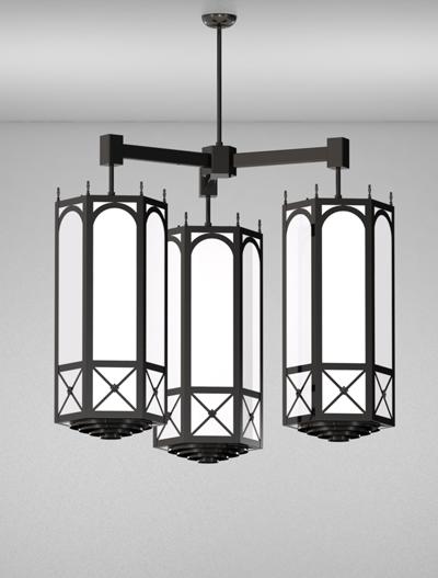 Jamestown Series 3-Arm Cluster Pendant Church Lighting Fixture in Semi Gloss Black Finish