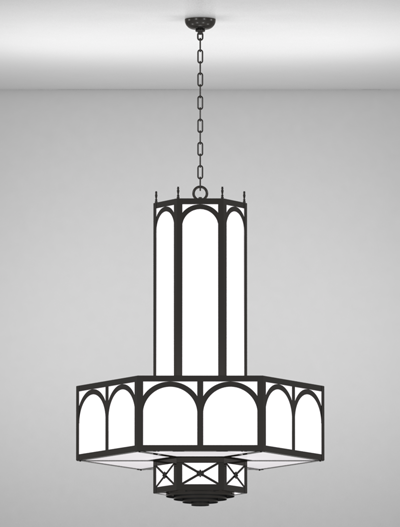 Jamestown Series 3-Tier Large Pendant Church Lighting Fixture in Semi Gloss Black Finish