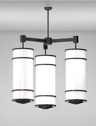 Los Angeles Series 3-Arm Cluster Pendant Church Lighting Fixture in Semi Gloss Black Finish