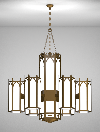Lancaster Series 6-Arm Satellite Pendant Church Lighting Fixture in Medium Bronze Finish