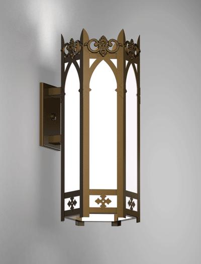Lancaster Series Wall Bracket Church Lighting Fixture in Medium Bronze Finish