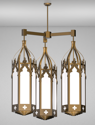 Lafayette Series 3-Arm Cluster Pendant Church Lighting Fixture in Medium Bronze Finish