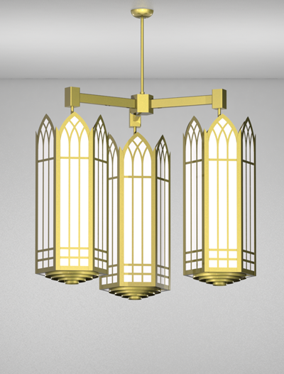 Norwich Series 3-Arm Cluster Pendant Church Lighting Fixture in Satin Brass Finish