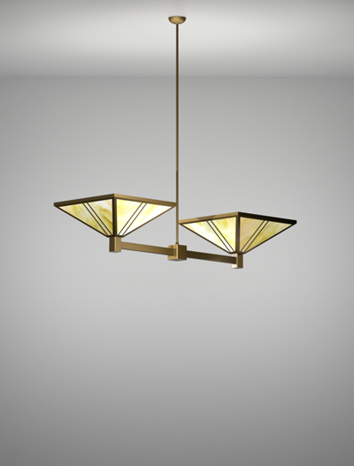 Oak Park Series 2-Arm Cluster Pendant Church Lighting Fixture in Roman Gold Finish