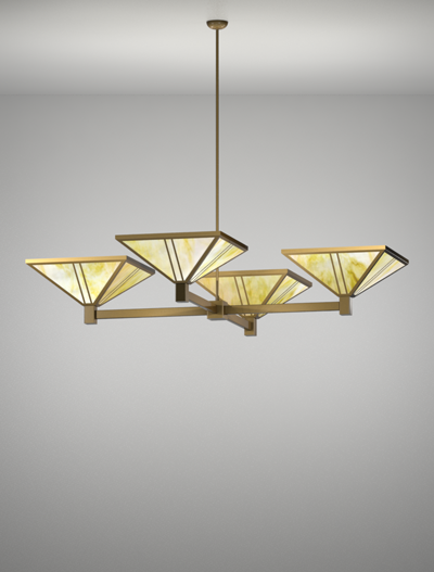 Oak Park Series 4-Arm Cluster Pendant Church Lighting Fixture in Roman Gold Finish