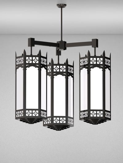 Oxford Series 3-Arm Cluster Pendant Church Lighting Fixture in Semi Gloss Black Finish