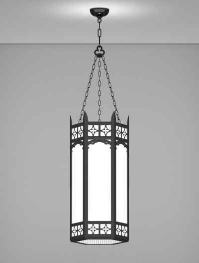 Oxford Series Pendant Church Lighting Fixture in Semi Gloss Black Finish