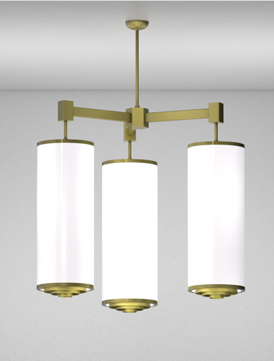 Portland Series 3-Arm Cluster Pendant Church Lighting Fixture in Satin Brass Finish