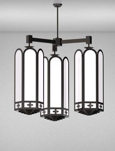Randolph Series 3-Arm Cluster Pendant Church Lighting Fixture in Semi Gloss Black Finish