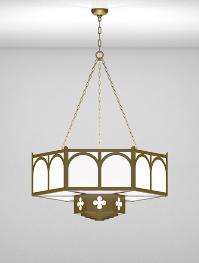 Roselle Series 2-Tier Large Pendant Church Lighting Fixture in Roman Gold Finish