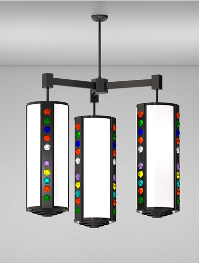 Rockford Series 3-Arm Cluster Pendant Church Lighting Fixture in Semi Gloss Black Finish