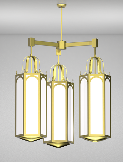 Raleigh Series 3-Arm Cluster Pendant Church Lighting Fixture in Satin Brass Finish