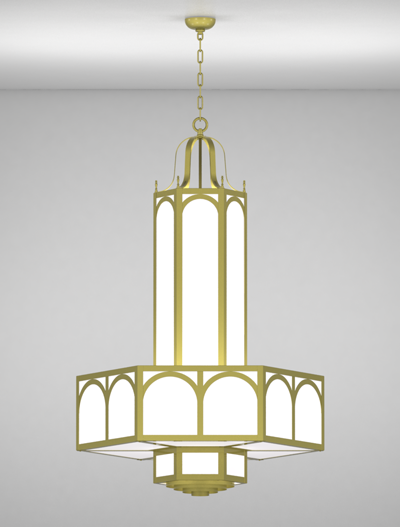 Raleigh Series 3-Tier Large Pendant Church Lighting Fixture in Satin Brass Finish