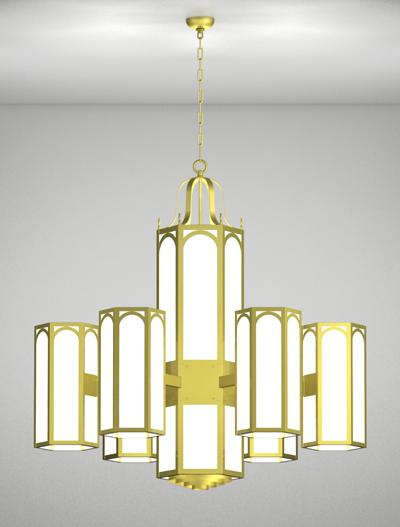 Raleigh Series 6-Arm Satellite Pendant Church Lighting Fixture in Satin Brass Finish
